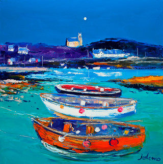 """""""Church and Boats, Arinagour, Isle of Coll"""" by John Lowrie Morrison"""