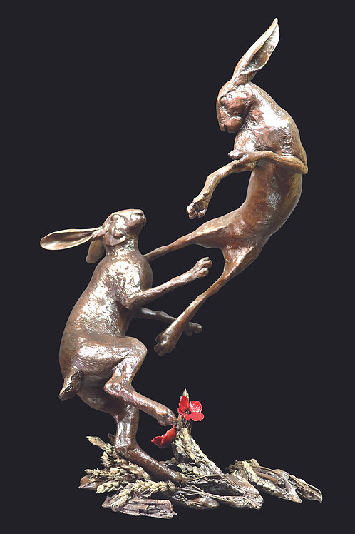 Large Hares Boxing by Michael Simpson