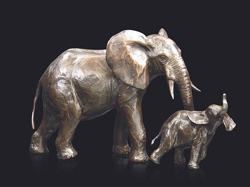Medium Elephant Cow & Calf by Michael Simpson