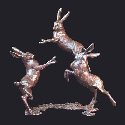 Medium Hares Playing by Michael Simpson