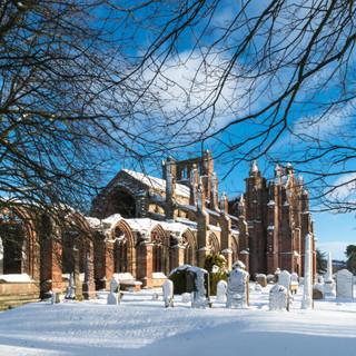 Melrose Abbey in Winter