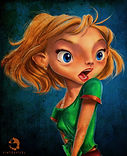 Pinterpixel- Girl with Blue Background-