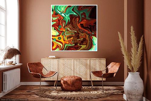 Orange Green Abstract