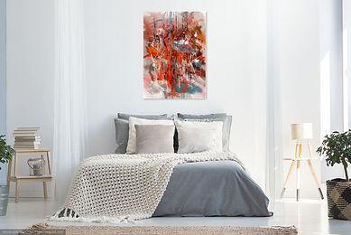 Ludo- Red-White-Pink Abstract- Bed- B2.j