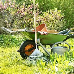 Schubkarre im Garten   Gartenpflege / Gartendienste / Gärtner     Putzfrau   Haushaltshilfe   Gartenpflege