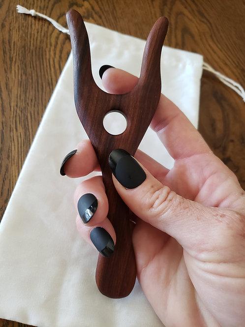 Lucet Fork - Knitting Fork - Hand Tooled Rosewood Lucet