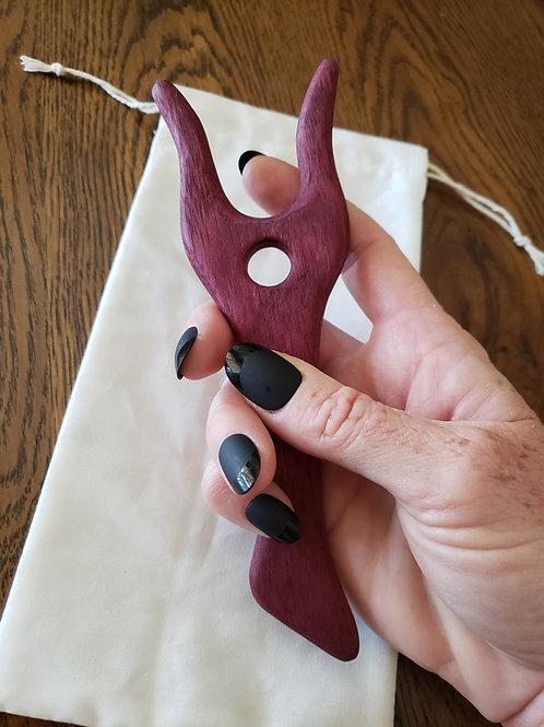 Lucet Fork - Knitting Fork - Hand Tooled Purple Heart Wood Lucet