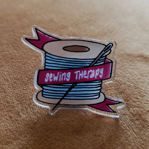 Lapel Pin - Acrylic Pin - Sewing Therapy - Hand Sewing Needle Thread