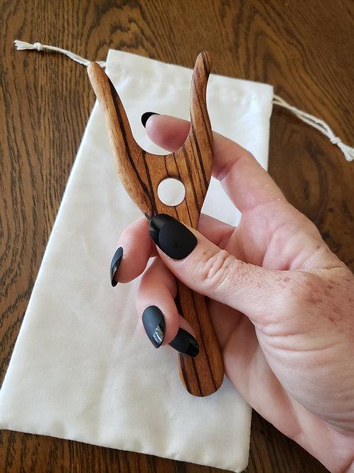Lucet Fork - Knitting Fork - Hand Tooled Zebrawood Lucet