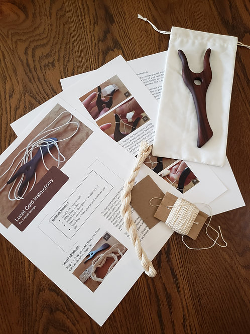 Lucet Kit - Knitting Fork, Instructions, DMC Thread and Tote Bag
