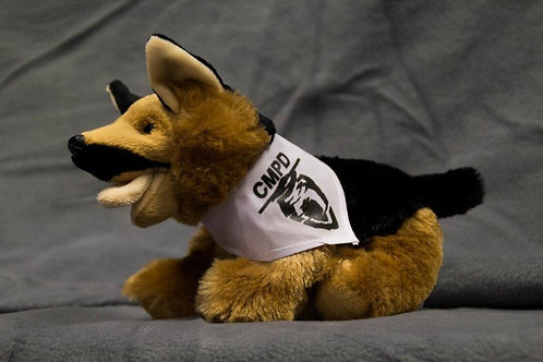 Stuffed German Shepherd with CMPD logo bandana.