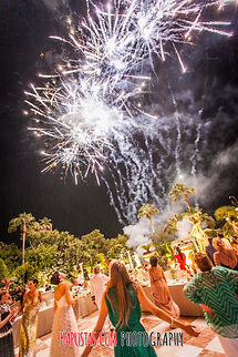 Fireworks at a luxury wedding
