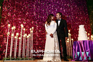 Wedding planners with crystal chandaliers and linen drapping