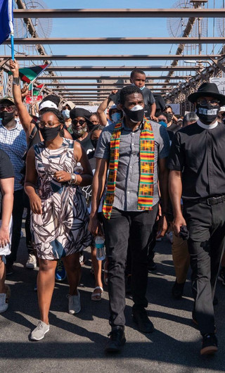 New York City Public Advocate Jumaane Williams, center, leads a march over the Brooklyn Bridge during a protest for police reform on June 8.David Dee Delgado/Getty Images
