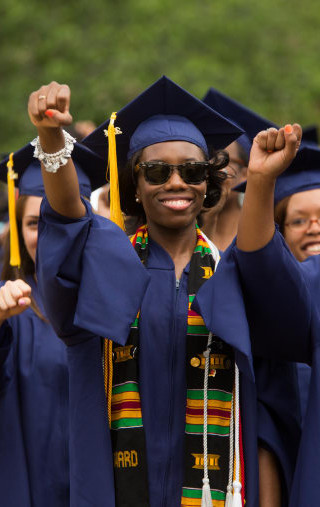 """Howard University Students stand for the anthem """"Lift Every Voice and Sing"""""""