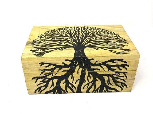 "Wooden Handicraft Storage Box 5"" x 8"" Tree of Life Printed"