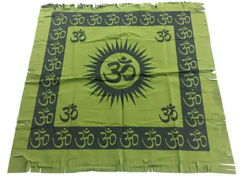 "Indian Cotton Tapestry Altar Cloth Om 24"" x 24"" (set of 4)"