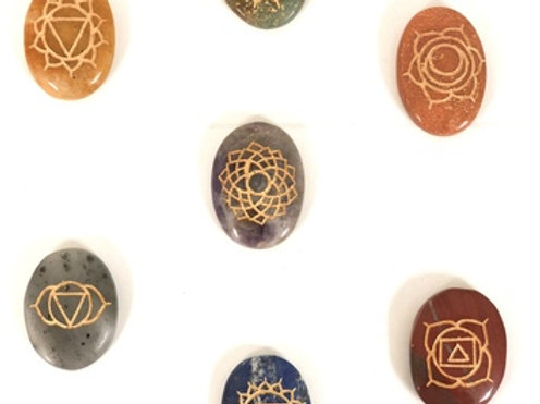 7 Chakras Engraved Oval Stones (set of 7)