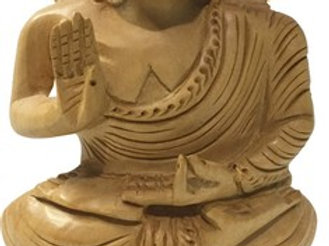 Wood Buddha Statue 6 inch