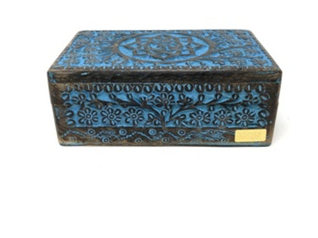 "Wooden Handicraft Storage Box 5"" x 8"" Lotus Om Colored"