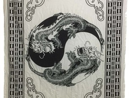 Indian Cotton Tapestry 2 Dragons (135 x 220 cm)