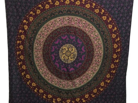Indian Cotton Tapestry Mandala Bohemian (210 x 240 cm