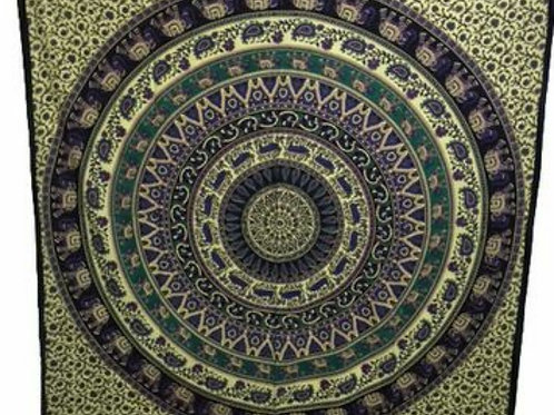 Indian Cotton Tapestry Elephant Caribou Mandala (210 x 240 cm