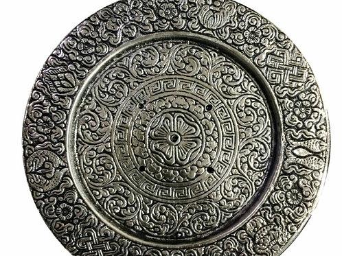 Aluminum Tibetan Round Shaped Incense Burner- 5.5'' Diameter