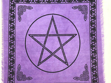 """Indian Cotton Tapestry Altar Cloth Pentacle 24"""" x 24"""" Purple"""