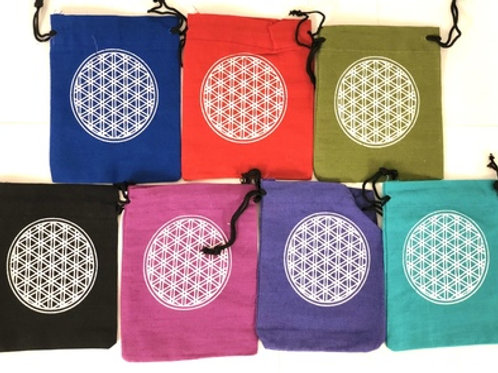 Cotton Pouch Flower of Life set of 7 (5''x4'')