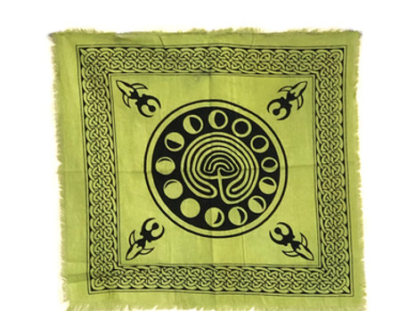 """Indian Cotton Tapestry Altar Cloth Green Phases of Moon 18"""" x 18"""