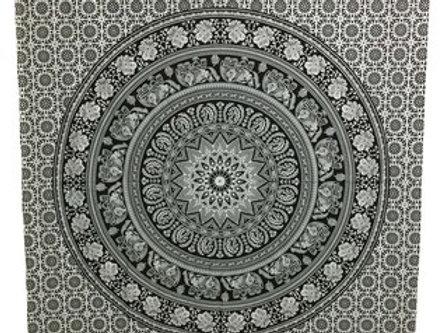 Indian Cotton Tapestry Elephant Mandala Black & White