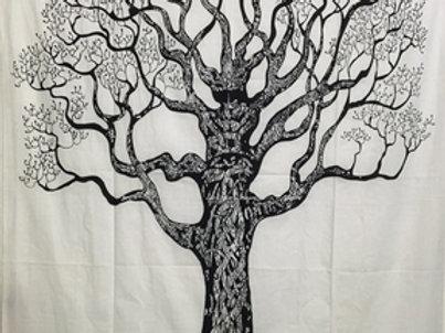 Tapestry Tree of Life Black & White (135 x 220 cm)