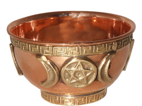 Copper Offering Bowls 3'' (Triple Moon Pentacle)