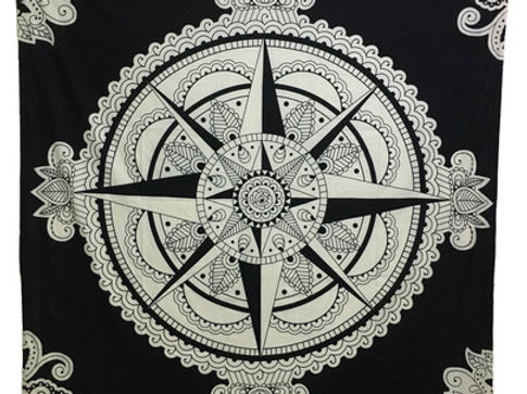 Indian Cotton Tapestry Compass Black & White (210 x 240 cm