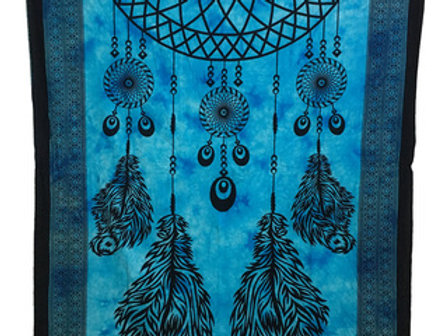 Indian Cotton Tapestry Dream Catcher Blue (135 x 220 cm