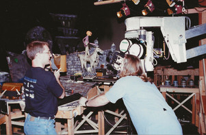 Carl and camera operator Eric Swenson setting up a Halloween Town shot.