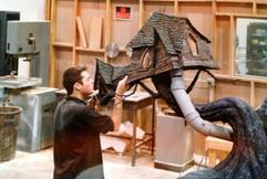 Bill working on Lock Shock & Barrel's house.