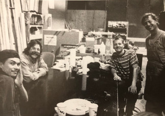 At the shop card table. Tom on the right with Fon Davis, Bo Henry, and Todd Lookinland.
