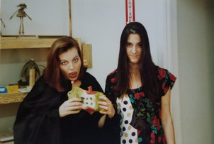 Skellington Production Coordinator Jill Ruzicka and Allison ready for Halloween 1991.