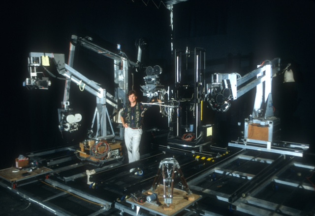 Pete and his collection of motion control rigs that he built and were used on Nightmare. Note that the rigs are sporting Mitchell 35mm cameras.