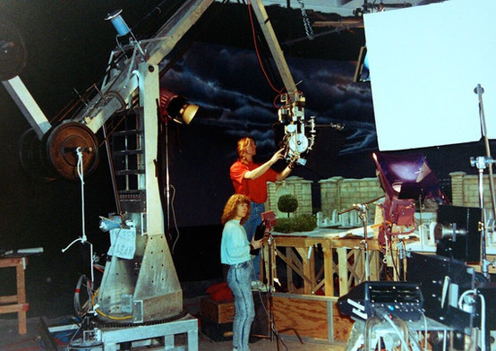 Jim and Jo Carson getting ready to shoot. Jim is working on the camera which is on the end of one of the bigger motion control rigs. (photo courtesy of Anthony Scott)