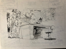 A hilarious sketch of Tim Burton hiding under Gisela's desk while she keeps the crew away. Waiting in line are Deane Taylor, Mike Cachuela, Kendal Cronkhite, Joe Ranft, Kelly Asbury, and Henry Selick.