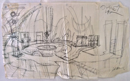 One of Deane's original sketches for Oogie Boogie's Lair. In Deane's episode he talks about how this set up was particularly challenging.