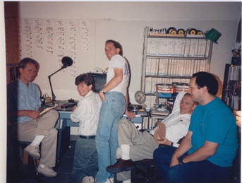 Stan on left, with Director of Photography Pete Kozachik, Camera Operator Rich Lehmann, Director Henry Selick, and Production Manager Phil Lofaro. 1992