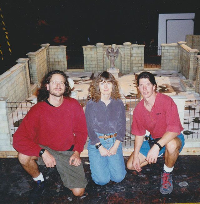 Animator Anthony Scott, Camera Operator Jo Carson, and Jim Matlosz in front of the Graveyard set. (photo courtesy of Anthony Scott)