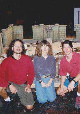 Animator Anthony Scott, Camera Operator Jo Carson, and Jim Matlosz in front of the Graveyard set. (photo courtesy of Anthony Scott)