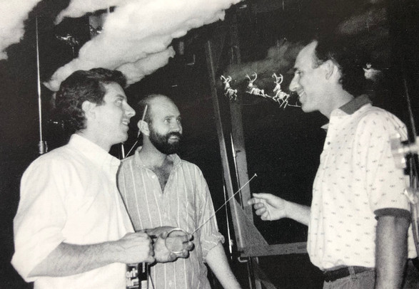 Camera Assistant Matt White, Animator Steve Buckley, and Pat on stage with Jack's flying reindeer skeletons. 1991