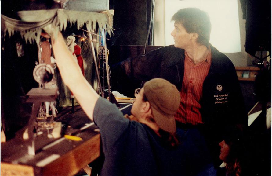 Pete and animator Anthony Scott working out something with Jack Skellington