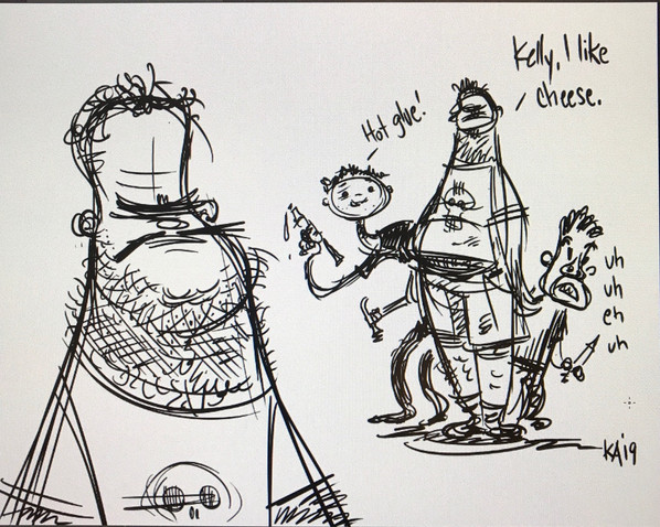 Kelly's drawing of Jerome Ranft, Bill Boes, and Mike Cachuela
